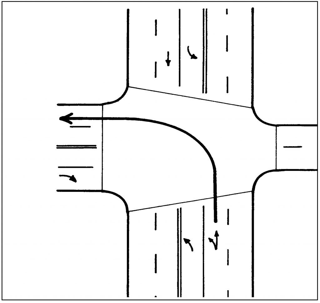 If there are two left turn lanes, use the right-hand lane