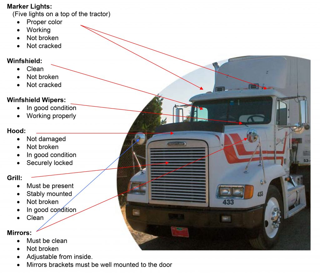 What Are The Parts Of A Tractor Trailer : Pre trip inspection tractor trailer cdl test