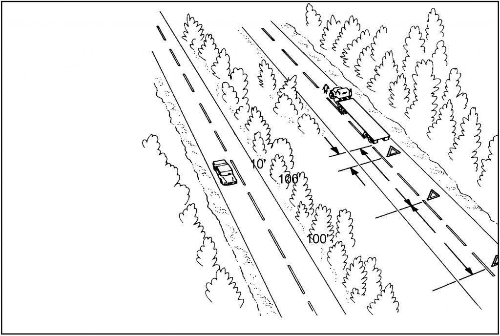 Warning Device Placement: One Way or Divided Highway cdl test